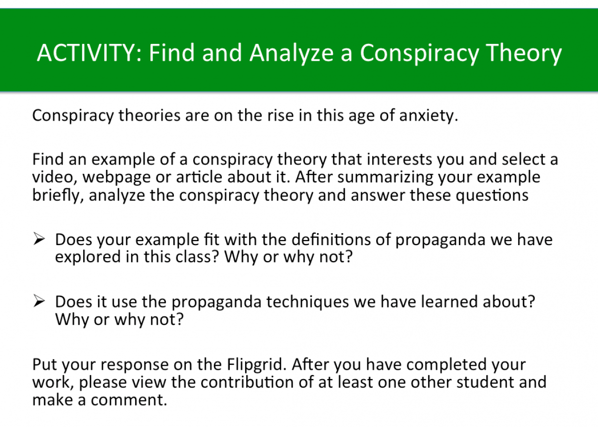 Activity: Analyze a Conspiracy Theory