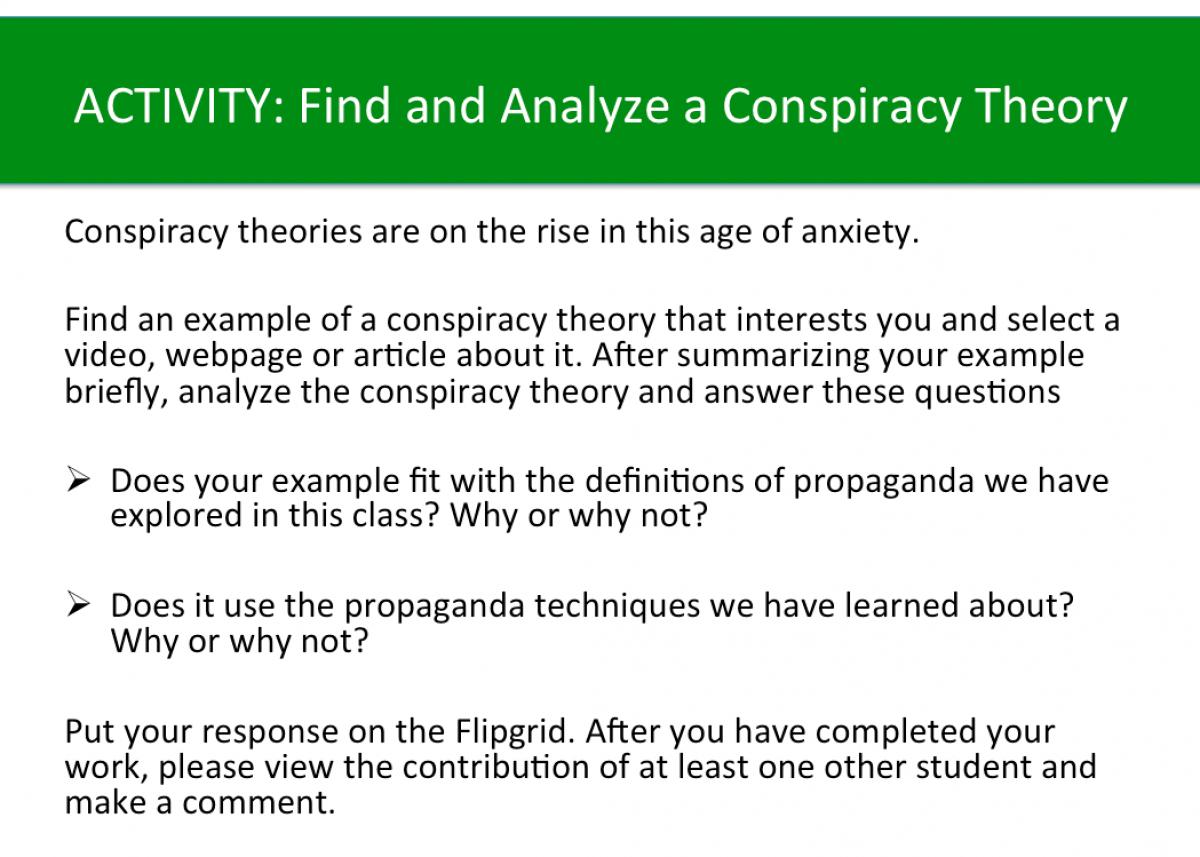 Activity: Analyze a Conspiracy Theory